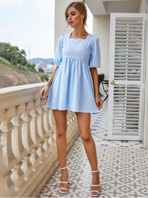 Baby Blue Gingham Tie Back Square Neck Dress on Sale