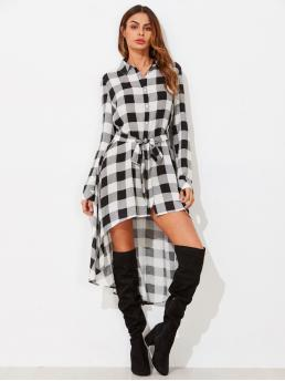 Casual Gingham Shirt Regular Fit Collar Long Sleeve Placket Black and White Longline Length Tie Waist High Low Longline Check Blouse with Belt