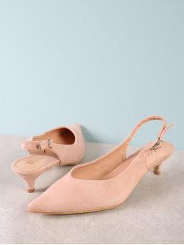 Classy Point Toe Pink Mid Heel Stiletto Faux Suede Pointy Toe Sling Back Pump DUSTY ROSE