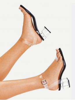 Ankle Strap Open Toe Ankle Strap Black and White Mid Heel Chunky Clear Strap Block Heeled Sandals