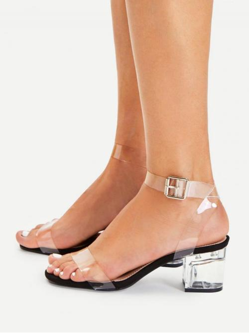 Women's Corduroy Black and White Strappy Sandals Cut out Clear Block Heeled Sandals