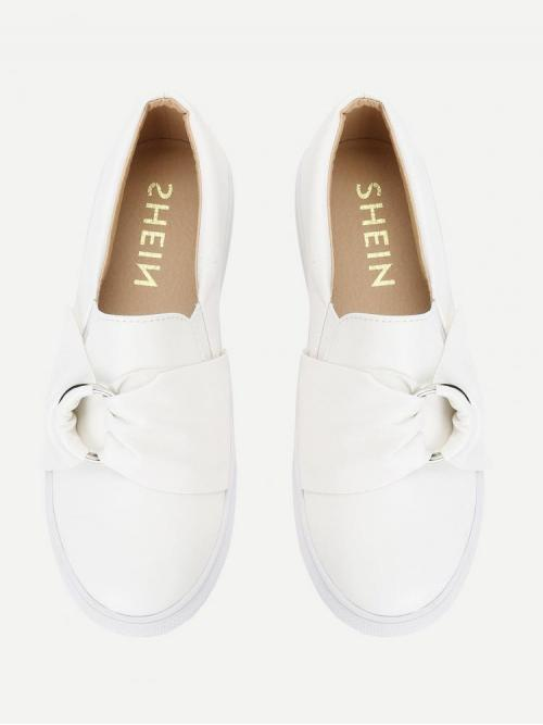 Trending now Corduroy White Slip on Knot Front Pu Sneakers