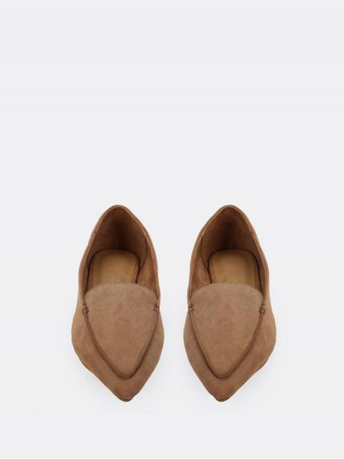 Women's Corduroy Camel Ballet Zipper Vegan Stitch Pointed Flats