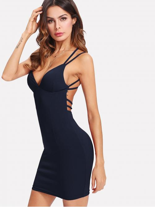 Navy Blue Plain Criss Cross Deep V Neck Strappy Back Plunging Bodycon Dress Beautiful