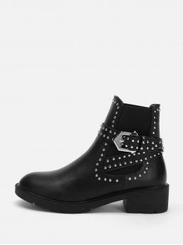 Tweed Black Chelsea Boots Studded Stud & Buckle Decorated Boots Beautiful