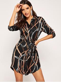 Casual Shirt Loose Collar Long Sleeve Roll Up Sleeve Natural Multicolor Short Length Chain Print Curved Hem Belted Shirt Dress with Belt