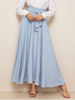 Casual Flared Plain High Waist Blue Maxi Length Bow Tie Wide Waistband Maxi Skirt with Belt