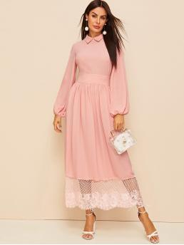 Elegant A Line Fit and Flare Flared Collar Long Sleeve Bishop Sleeve High Waist Pink and Pastel Long Length Lantern Sleeve Empire Waist Lace Hem Dress