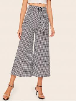 Casual Gingham Wide Leg Loose Zipper Fly High Waist Black and White Cropped Length Gingham High Waist Wide Leg Belted Pants with Belt