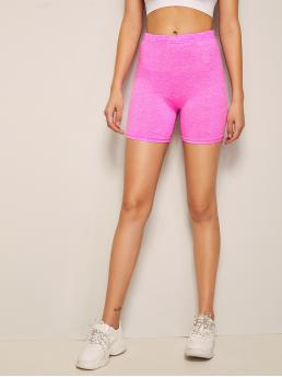 Sporty Biker Shorts Plain Pink and Bright Neon Pink Marled Cycling Leggings