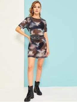Sexy Tunic Animal Loose Round Neck Short Sleeve Natural Multicolor Short Length Unicorn Print Sheer Mesh Dress Without Underwear