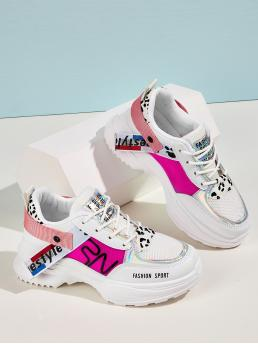 Comfort Round Toe Letter Multicolor Low Heel Holographic Detail Leopard Print Chunky Sneakers