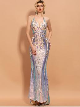 Glamorous and Sexy Bodycon Mermaid Slim Fit Deep V Neck and Spaghetti Strap Sleeveless High Waist Multicolor Maxi Length Missord Criss-cross Backless Sequin Bodycon Prom Dress with Chest pad with Lining