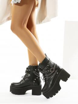 Ladies Black Combat Boots Spiked High Heel & Decor Ankle Boots