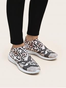Multicolor Running Shoes Low-top Fabric Slip on Knit Sneakers Discount