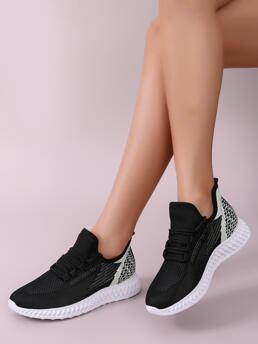 Women's Black Running Shoes Lace up Low-top Decor Knit Running Shoes