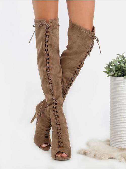Polyester Brown Stretch Boots Embroidery Thigh Boots Taupe Clearance