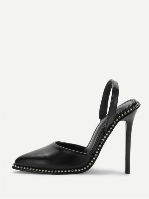 Beautiful Corduroy Black Strappy Sandals Studded Detail Slingback Heels