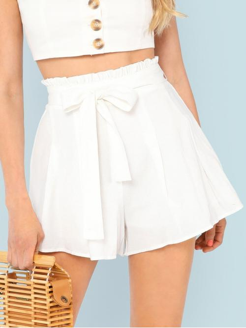 White Natural Waist Belted Straight Leg Frill Waist Boxed Pleated Shorts Shopping