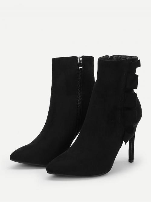 Corduroy Black Stretch Boots Buckle Ruffle Trim Side Boots Cheap