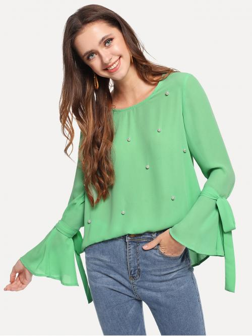 Long Sleeve Top Beaded Polyester Pearls Bell Sleeve Top on Sale