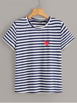Casual Striped Regular Fit Round Neck Short Sleeve Pullovers Navy Regular Length Heart Print Striped T-shirt