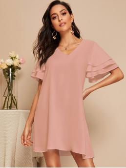 Casual Tunic Plain Straight Loose V neck Short Sleeve Layered Sleeve Natural Pink and Pastel Short Length Solid V Neck Layered Ruffle Tunic Dress