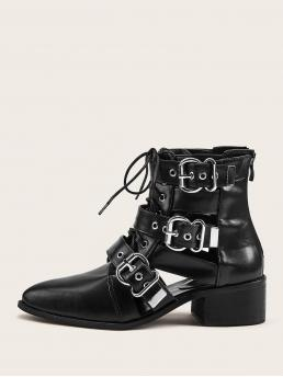 Comfort Lace-up Boots Point Toe Back zipper Black Low Heel Chunky Buckle Decor Lace-up Front Zip Back Boots