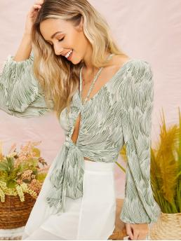 Boho All Over Print Top Regular Fit V neck Long Sleeve Bishop Sleeve Pullovers Green Crop Length Strappy Neck Cut Out Tie Front Lantern Sleeve Top
