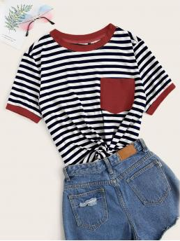 Short Sleeve Pocket Polyester Striped Patched Ringer Tee Trending now