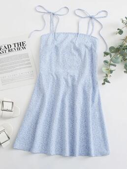 Shopping Baby Blue all over Print Shirred Spaghetti Strap Tie Shoulder Back Allover Dress