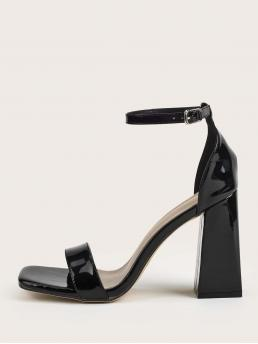Black Strappy Sandals Ultra High Heel Chunky Two Part Heeled Sandals Affordable
