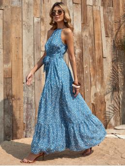Blue Ditsy Floral Tie Back Halter Ruffle Hem Dress Clearance