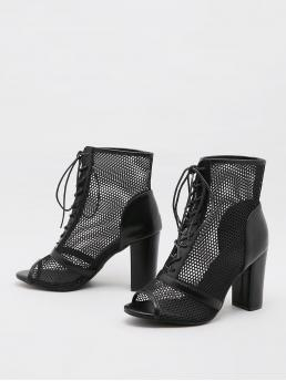 Black Mesh Rubber Pu Leather Minimalist Front Chunky Sandals Boots Shopping