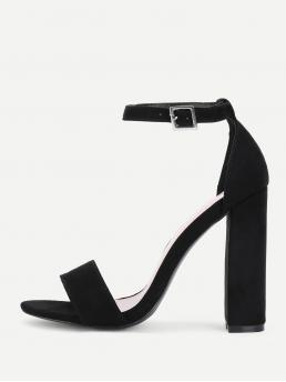 Ankle Strap Open Toe Plain Ankle Strap Black High Heel Chunky Two Part Ankle Strap Block Heeled Pumps