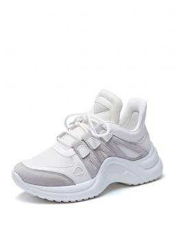 Comfort Round Toe Platform White Chunky Lace-up Chunky Sneakers