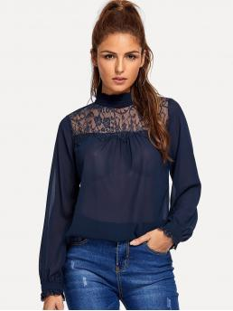 Casual Plain Top Regular Fit Stand Collar Long Sleeve Pullovers Navy Regular Length Contrast Lace Ruffle Trim Top