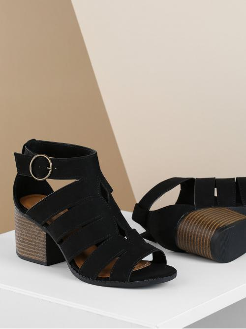 Beautiful Corduroy Black Mules Cut out Caged Side Buckle Heel Sandals