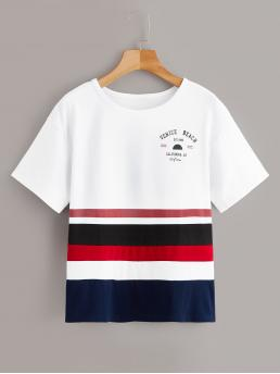 Casual Letter and Striped Regular Fit Round Neck Short Sleeve Pullovers Multicolor Regular Length Letter Print Color-block Tee
