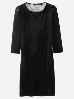 Casual Tunic Plain Straight Round Neck Long Sleeve Natural Black Short Length Lace Overlay Solid Tunic Dress