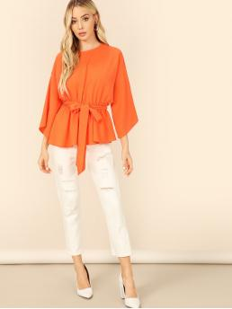Casual Plain Peplum Regular Fit Round Neck Three Quarter Length Sleeve Flounce Sleeve Pullovers Orange Regular Length Keyhole Back Bell Sleeve Neon Orange Belted Top with Belt