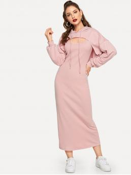 Pink Plain Drawstring Hooded Strap Longline Dress with Trending now