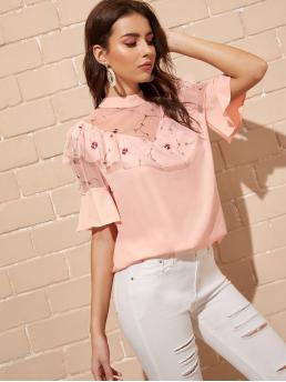 Elegant Plants Top Regular Fit Stand Collar Short Sleeve Flounce Sleeve Pullovers Pink Regular Length Contrast Mesh Embroidery Blouse