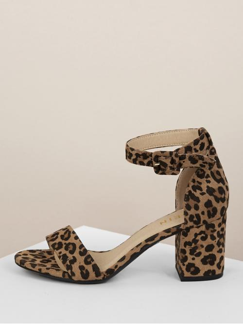 Business Casual Peep Toe Leopard Ankle