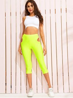 Sexy Regular Plain Green and Bright Capris Length Neon Lime Cut-out Detail Leggings