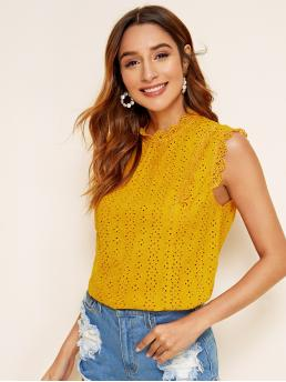 Casual Plain Top Regular Fit Stand Collar Sleeveless Pullovers Yellow Regular Length Eyelet Embroidery Keyhole Back Blouse