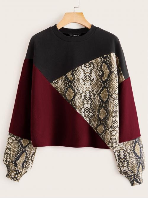 Casual Pullovers Colorblock and Snakeskin Print Regular Fit Round Neck Long Sleeve Regular Sleeve Multicolor Regular Length Snakeskin Print Colorblock Textured Pullover