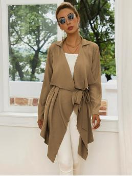 Casual Other Plain Regular Fit Waterfall Long Sleeve Regular Sleeve Khaki Regular Length Waterfall Asymmetrical Hem Belted Coat with Belt