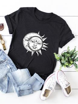 Casual Graphic Regular Fit Round Neck Short Sleeve Regular Sleeve Pullovers Black Regular Length Sun And Moon Print Tee