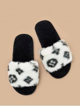 Affordable Black and White Open Toe Faux Fur Geometric Fluffy Slides